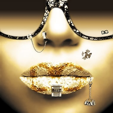 Golden lips van Jean Raphael